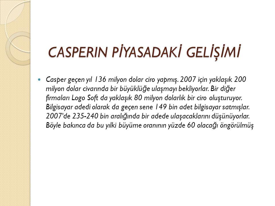 CASPERIN P İ YASADAK İ GEL İ Ş İ M İ  Casper geçen yıl 136 milyon dolar ciro yapmış.