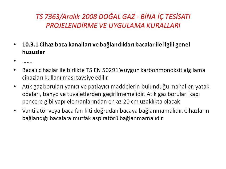 TS 7363/Aralık 2008 DOĞAL GAZ - BİNA İÇ TESİSATI PROJELENDİRME VE UYGULAMA KURALLARI • 10.3.1 Cihaz baca kanalları ve bağlandıkları bacalar ile ilgili