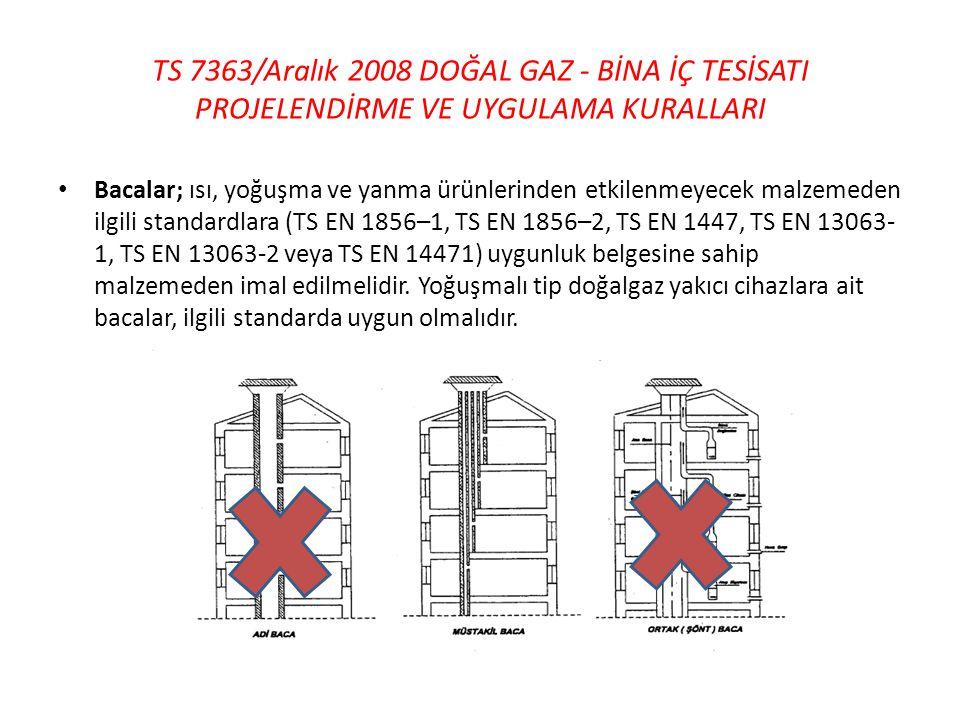TS 7363/Aralık 2008 DOĞAL GAZ - BİNA İÇ TESİSATI PROJELENDİRME VE UYGULAMA KURALLARI • Bacalar; ısı, yoğuşma ve yanma ürünlerinden etkilenmeyecek malz