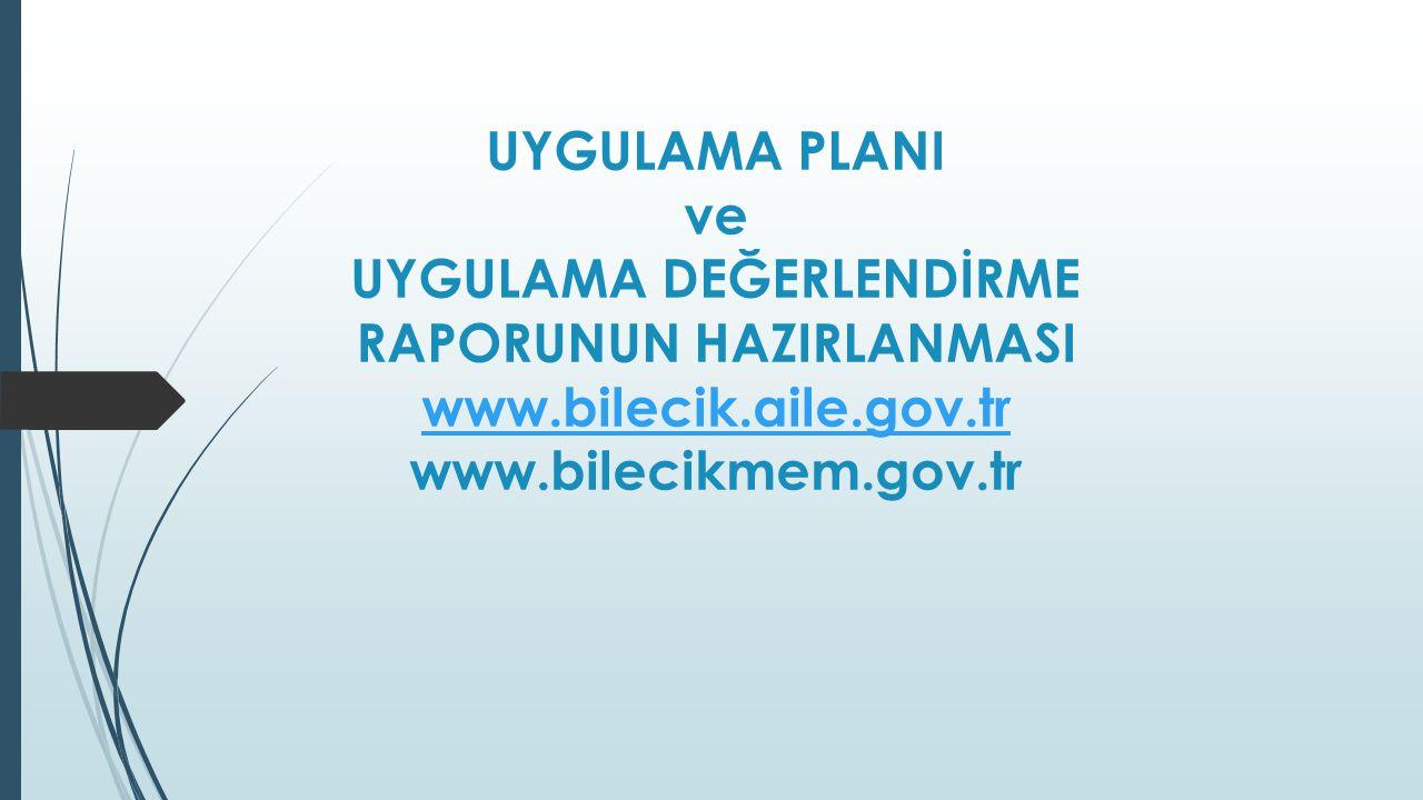 UYGULAMA PLANI ve UYGULAMA DEĞERLENDİRME RAPORUNUN HAZIRLANMASI www.bilecik.aile.gov.tr www.bilecikmem.gov.tr www.bilecik.aile.gov.tr