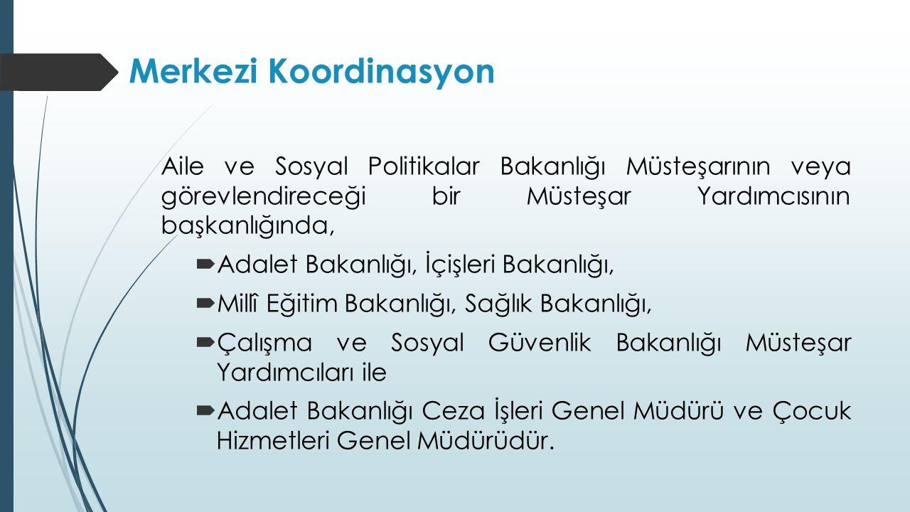 Merkezi Koordinasyon Aile ve Sosyal Politikalar Bakanlığı Müsteşarının veya görevlendireceği bir Müsteşar Yardımcısının başkanlığında,  Adalet Bakanl