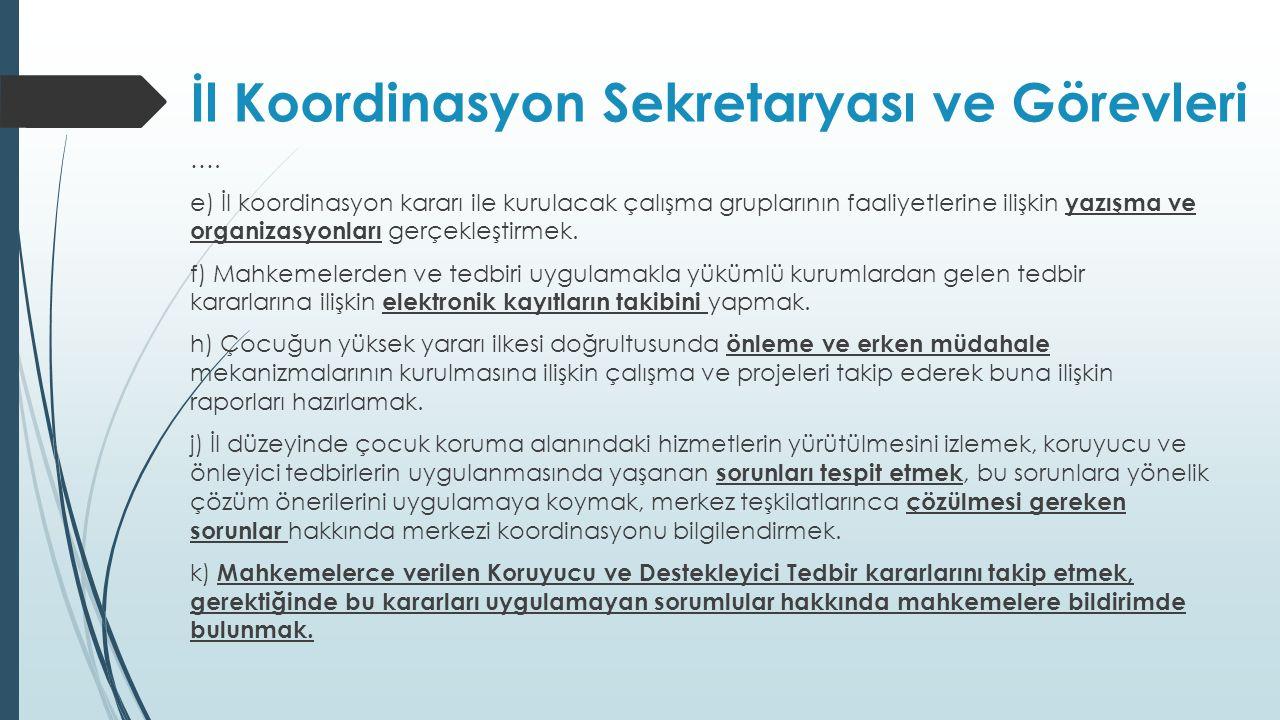 İl Koordinasyon Sekretaryası ve Görevleri …. e) İl koordinasyon kararı ile kurulacak çalışma gruplarının faaliyetlerine ilişkin yazışma ve organizasyo