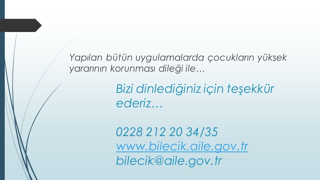 Bizi dinlediğiniz için teşekkür ederiz… 0228 212 20 34/35 www.bilecik.aile.gov.tr bilecik@aile.gov.tr www.bilecik.aile.gov.tr Yapılan bütün uygulamala