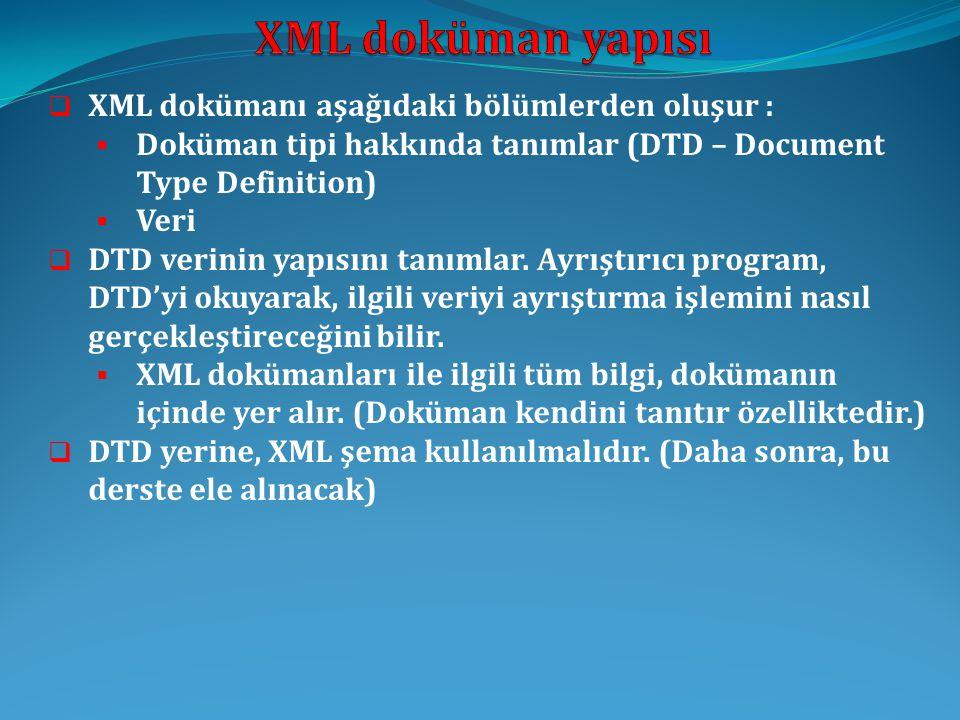  XML dokümanı aşağıdaki bölümlerden oluşur :  Doküman tipi hakkında tanımlar (DTD – Document Type Definition)  Veri  DTD verinin yapısını tanımlar.