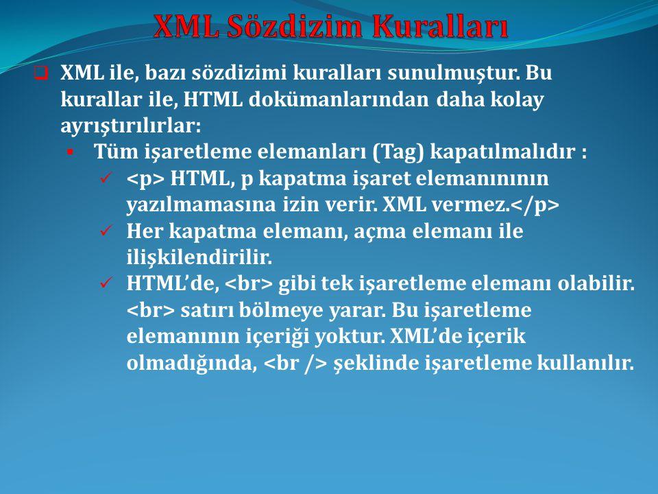  XML ile, bazı sözdizimi kuralları sunulmuştur. Bu kurallar ile, HTML dokümanlarından daha kolay ayrıştırılırlar:  Tüm işaretleme elemanları (Tag) k