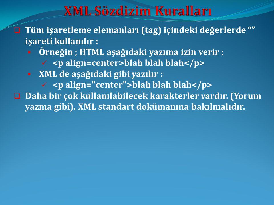 """ Tüm işaretleme elemanları (tag) içindeki değerlerde """""""" işareti kullanılır :  Örneğin ; HTML aşağıdaki yazıma izin verir :  blah blah blah  XML de"""