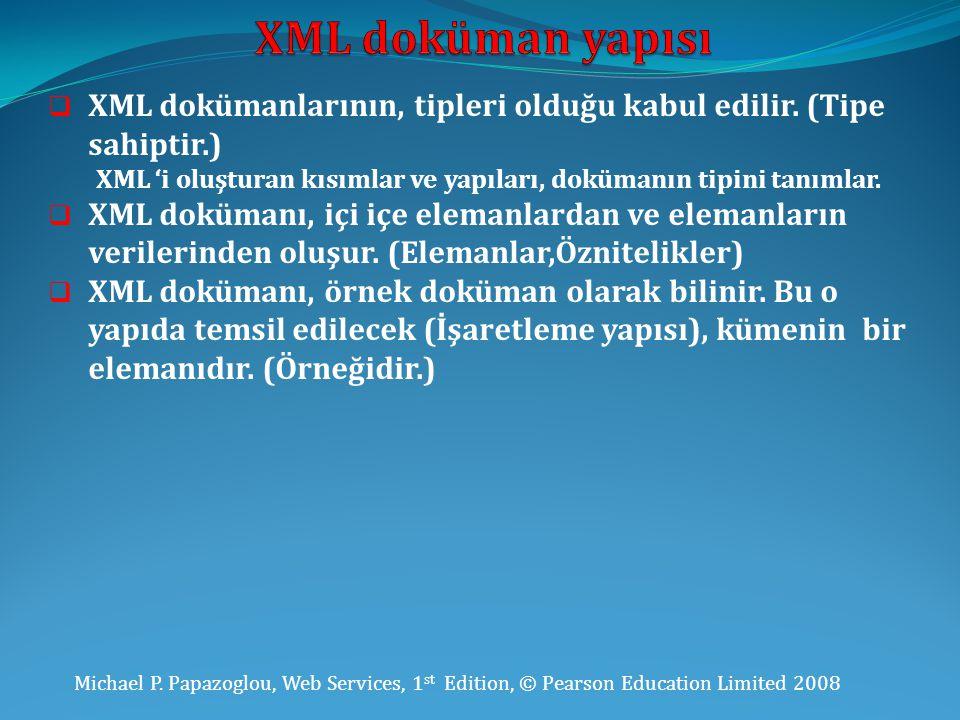 Michael P. Papazoglou, Web Services, 1 st Edition, © Pearson Education Limited 2008  XML dokümanlarının, tipleri olduğu kabul edilir. (Tipe sahiptir.