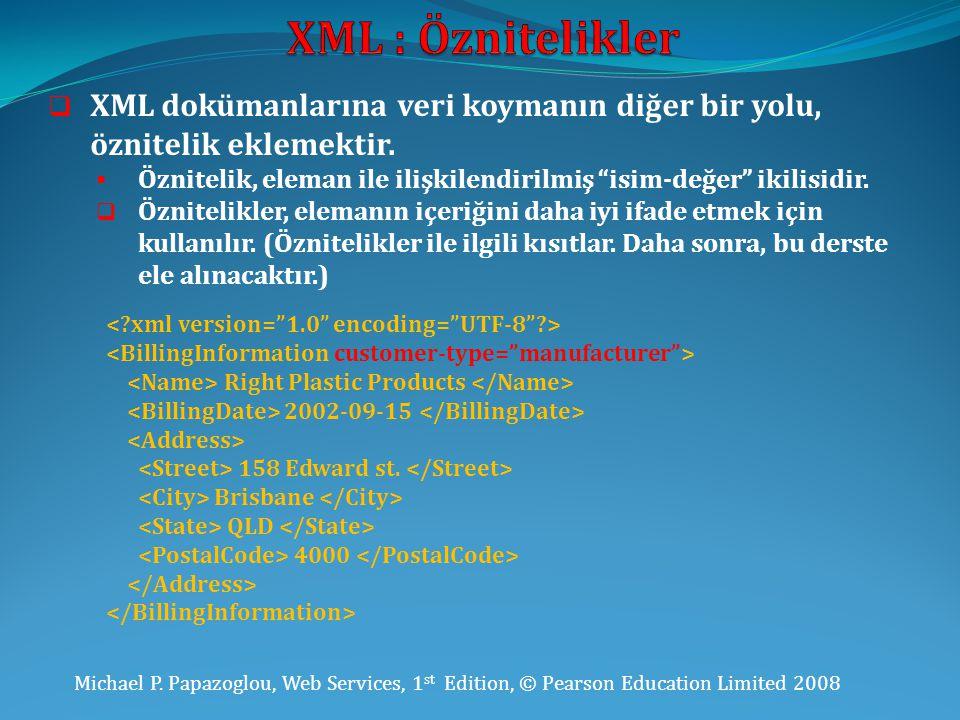 Michael P. Papazoglou, Web Services, 1 st Edition, © Pearson Education Limited 2008  XML dokümanlarına veri koymanın diğer bir yolu, öznitelik ekleme