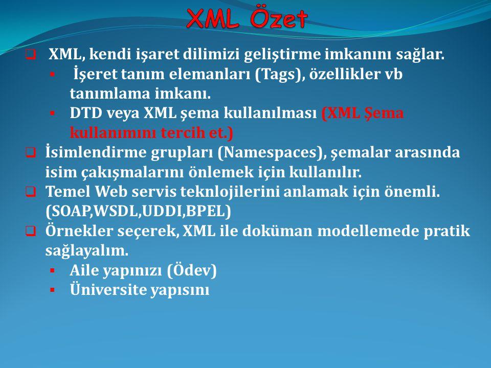  XML, kendi işaret dilimizi geliştirme imkanını sağlar.  İşeret tanım elemanları (Tags), özellikler vb tanımlama imkanı.  DTD veya XML şema kullanı