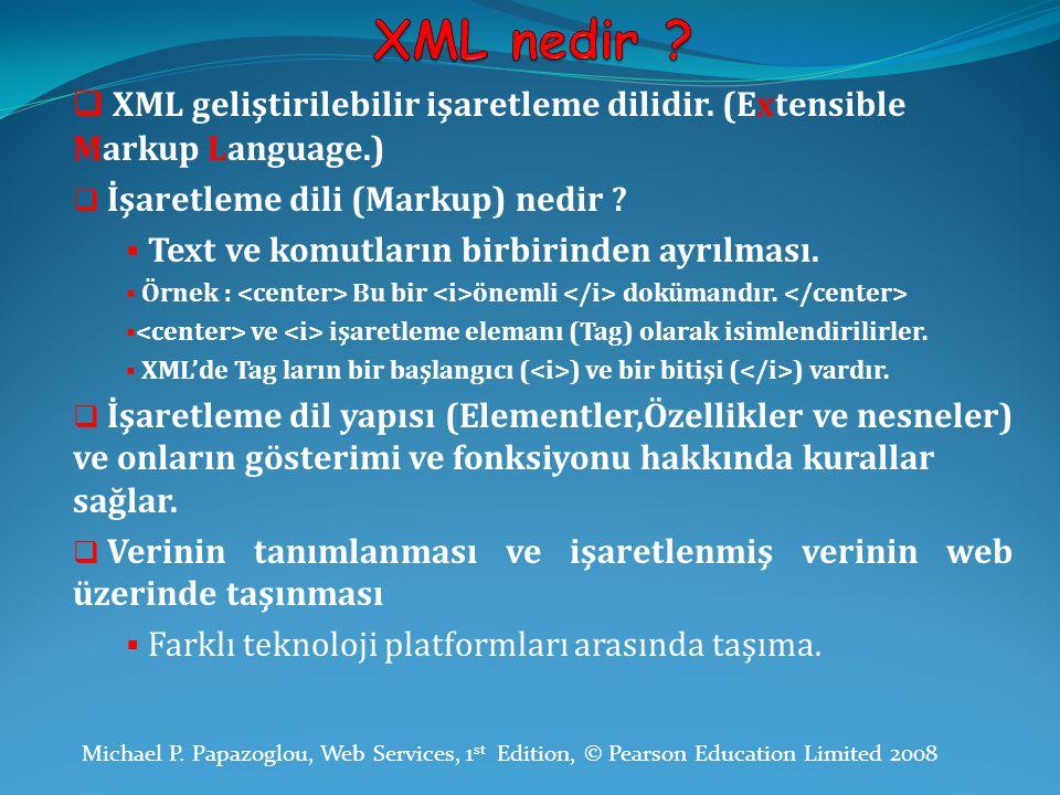  XML geliştirilebilir işaretleme dilidir. (Extensible Markup Language.)  İşaretleme dili (Markup) nedir ?  Text ve komutların birbirinden ayrılması
