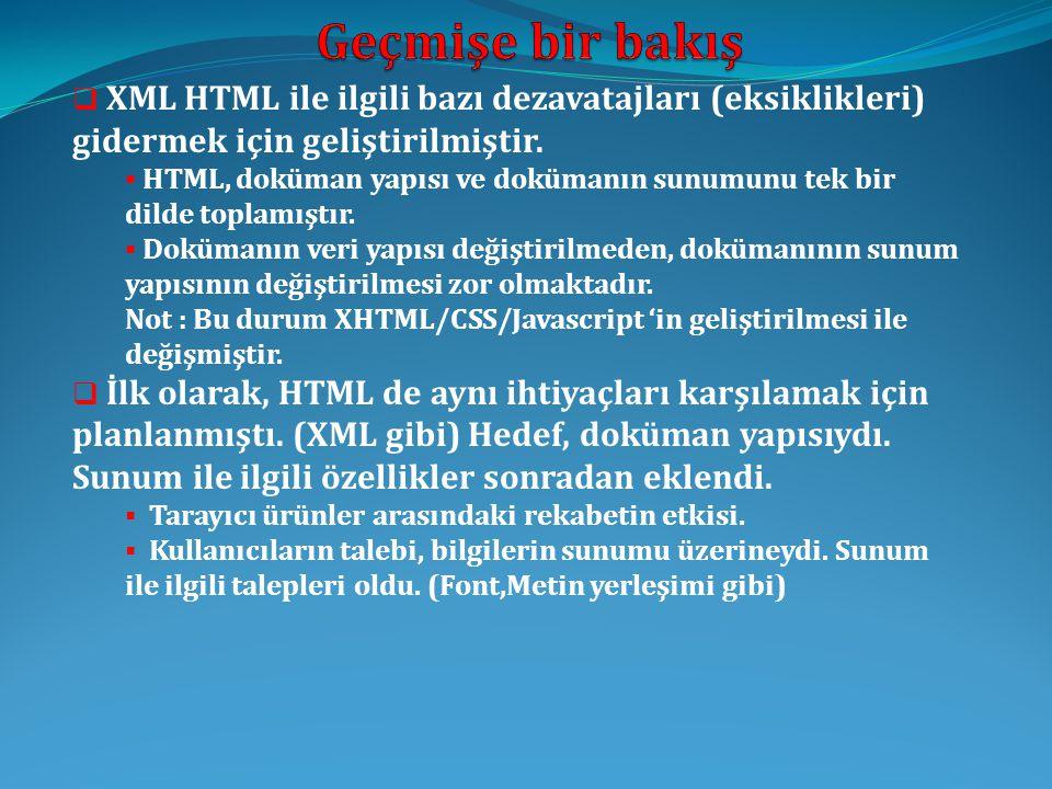  XML HTML ile ilgili bazı dezavatajları (eksiklikleri) gidermek için geliştirilmiştir.  HTML, doküman yapısı ve dokümanın sunumunu tek bir dilde top