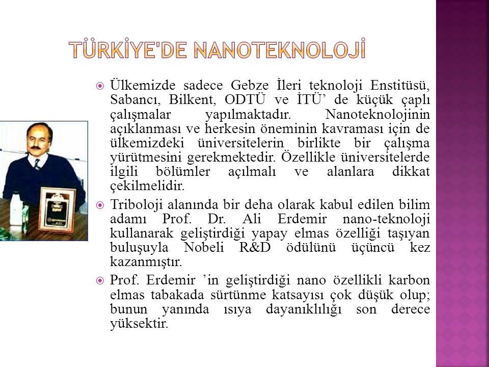  Ülkemizde sadece Gebze İleri teknoloji Enstitüsü, Sabancı, Bilkent, ODTÜ ve İTÜ' de küçük çaplı çalışmalar yapılmaktadır.