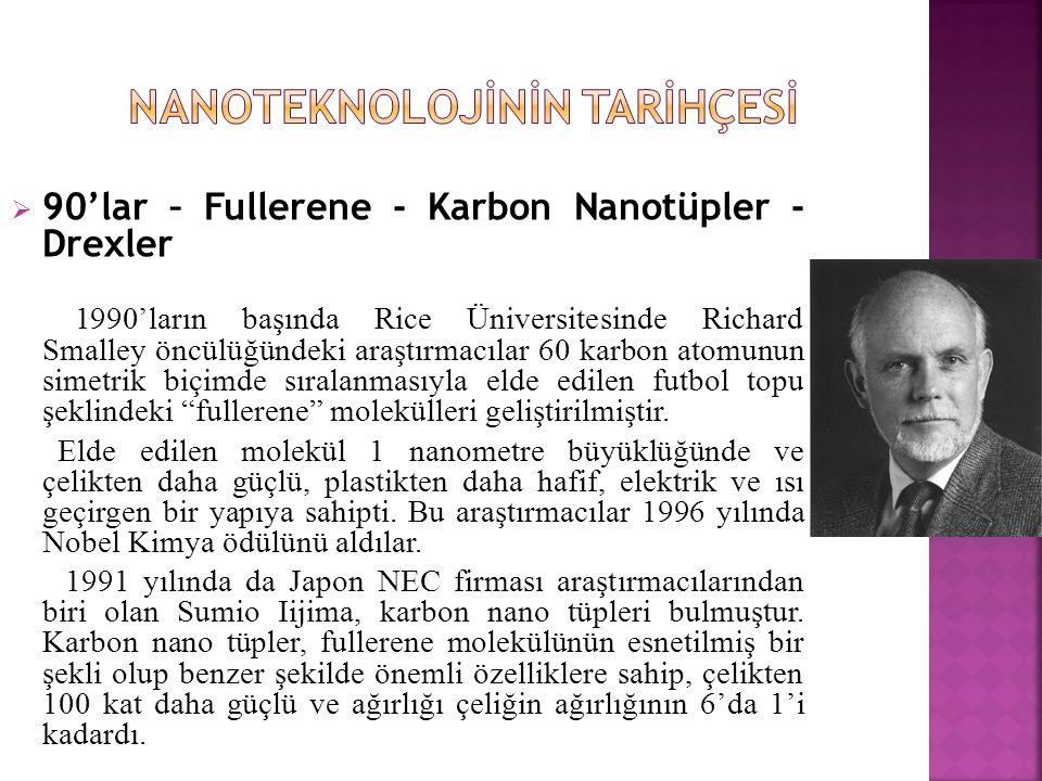  90'lar – Fullerene - Karbon Nanotüpler - Drexler 1990'ların başında Rice Üniversitesinde Richard Smalley öncülüğündeki araştırmacılar 60 karbon atomunun simetrik biçimde sıralanmasıyla elde edilen futbol topu şeklindeki fullerene molekülleri geliştirilmiştir.