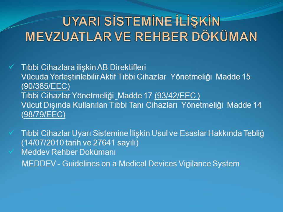  Tıbbi Cihazlara ilişkin AB Direktifleri Vücuda Yerleştirilebilir Aktif Tıbbi Cihazlar Yönetmeliği Madde 15 (90/385/EEC) Tıbbi Cihazlar Yönetmeliği M