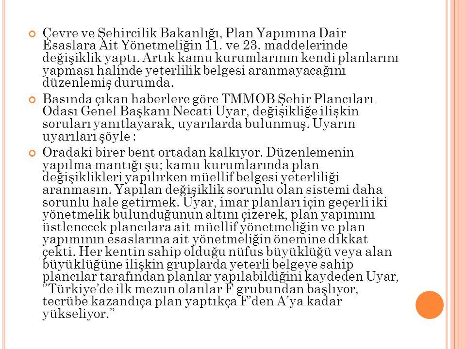 Çevre ve Şehircilik Bakanlığı, Plan Yapımına Dair Esaslara Ait Yönetmeliğin 11. ve 23. maddelerinde değişiklik yaptı. Artık kamu kurumlarının kendi pl