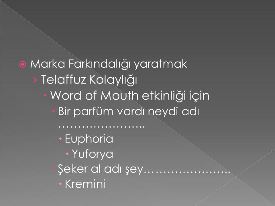  Marka Farkındalığı yaratmak › Telaffuz Kolaylığı  Word of Mouth etkinliği için  Bir parfüm vardı neydi adı …………………..  Euphoria  Yuforya  Şeker