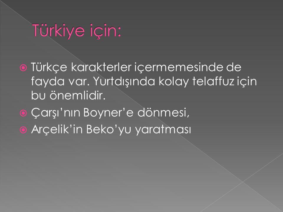  Türkçe karakterler içermemesinde de fayda var. Yurtdışında kolay telaffuz için bu önemlidir.  Çarşı'nın Boyner'e dönmesi,  Arçelik'in Beko'yu yara