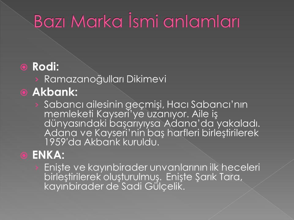  Rodi: › Ramazanoğulları Dikimevi  Akbank: › Sabancı ailesinin geçmişi, Hacı Sabancı'nın memleketi Kayseri'ye uzanıyor. Aile iş dünyasındaki başarıy