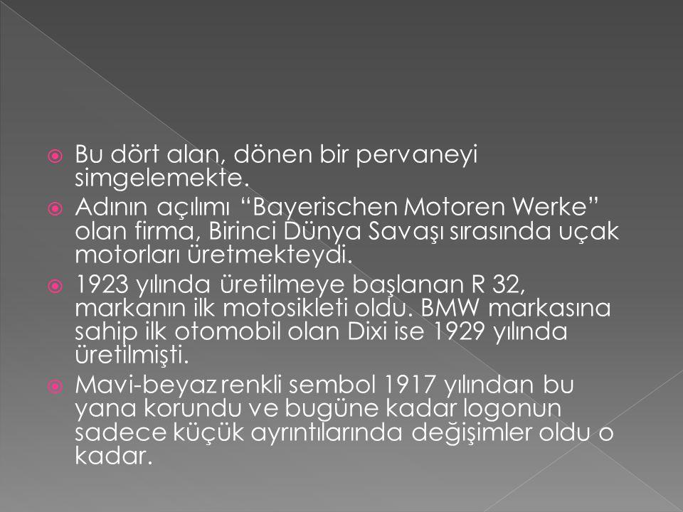 """ Bu dört alan, dönen bir pervaneyi simgelemekte.  Adının açılımı """"Bayerischen Motoren Werke"""" olan firma, Birinci Dünya Savaşı sırasında uçak motorla"""
