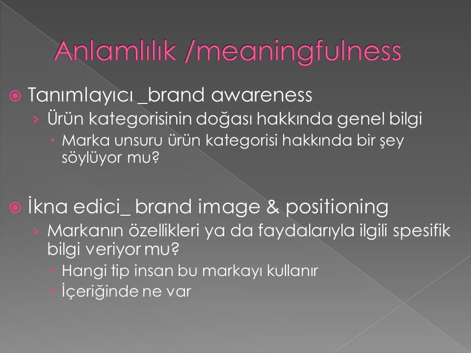  Tanımlayıcı _brand awareness › Ürün kategorisinin doğası hakkında genel bilgi  Marka unsuru ürün kategorisi hakkında bir şey söylüyor mu?  İkna ed