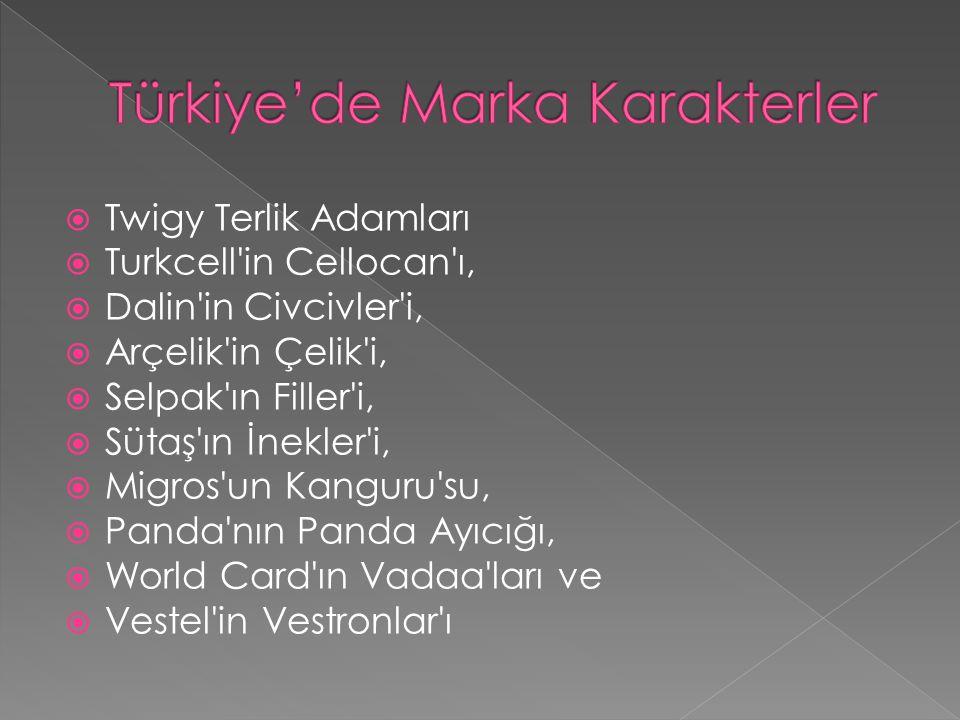  Twigy Terlik Adamları  Turkcell'in Cellocan'ı,  Dalin'in Civcivler'i,  Arçelik'in Çelik'i,  Selpak'ın Filler'i,  Sütaş'ın İnekler'i,  Migros'u
