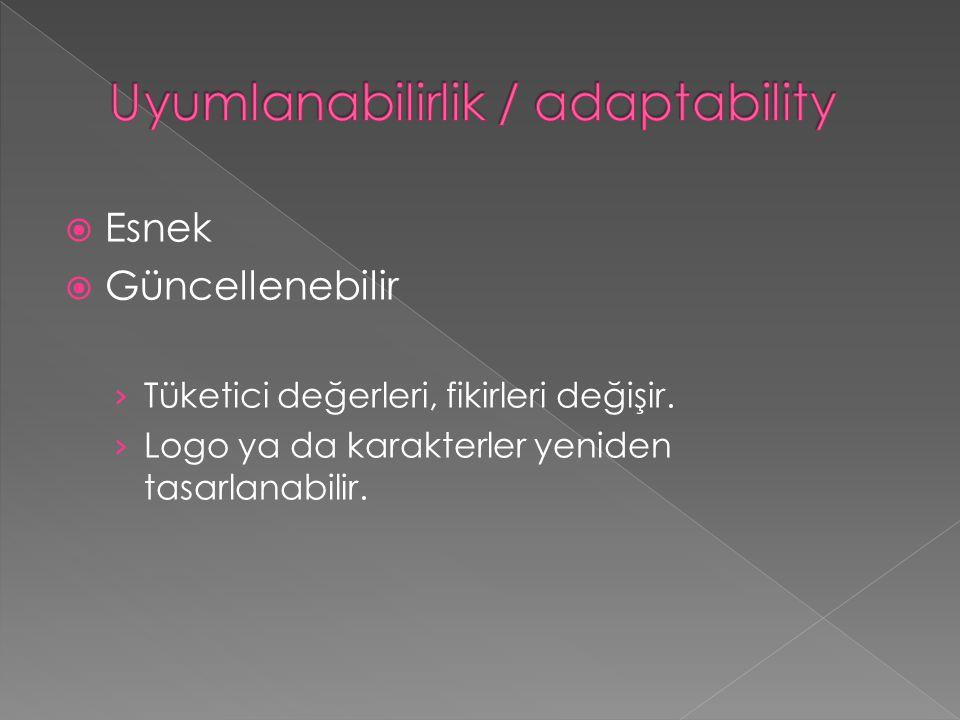  Esnek  Güncellenebilir › Tüketici değerleri, fikirleri değişir. › Logo ya da karakterler yeniden tasarlanabilir.