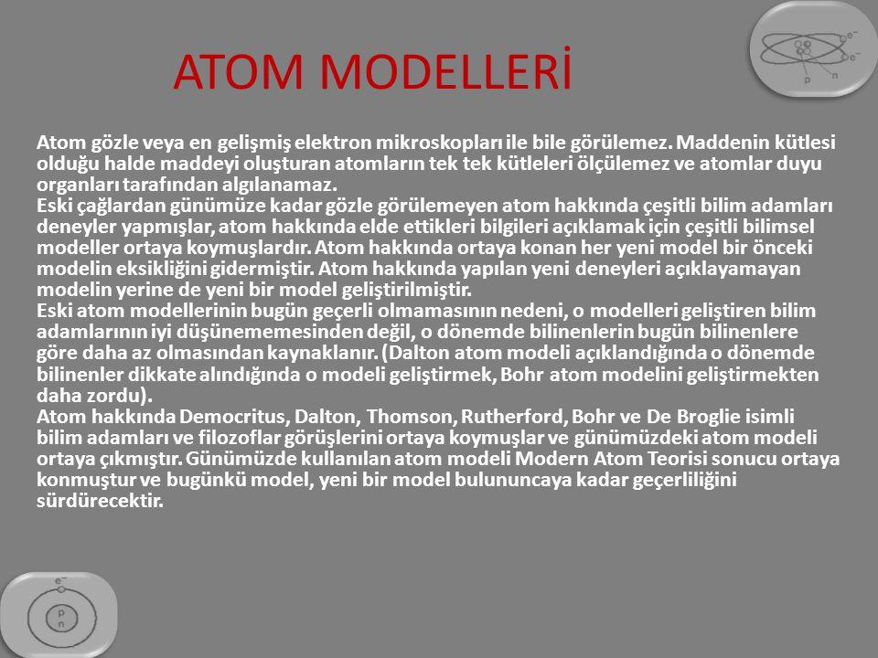 a) Democritus Atom Modeli (Democritus–M.Ö.400) : Atom hakkında ilk görüş M.Ö.