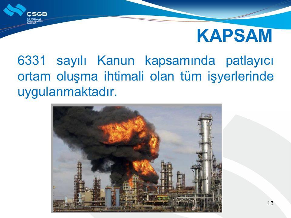 KAPSAM 6331 sayılı Kanun kapsamında patlayıcı ortam oluşma ihtimali olan tüm işyerlerinde uygulanmaktadır. 13