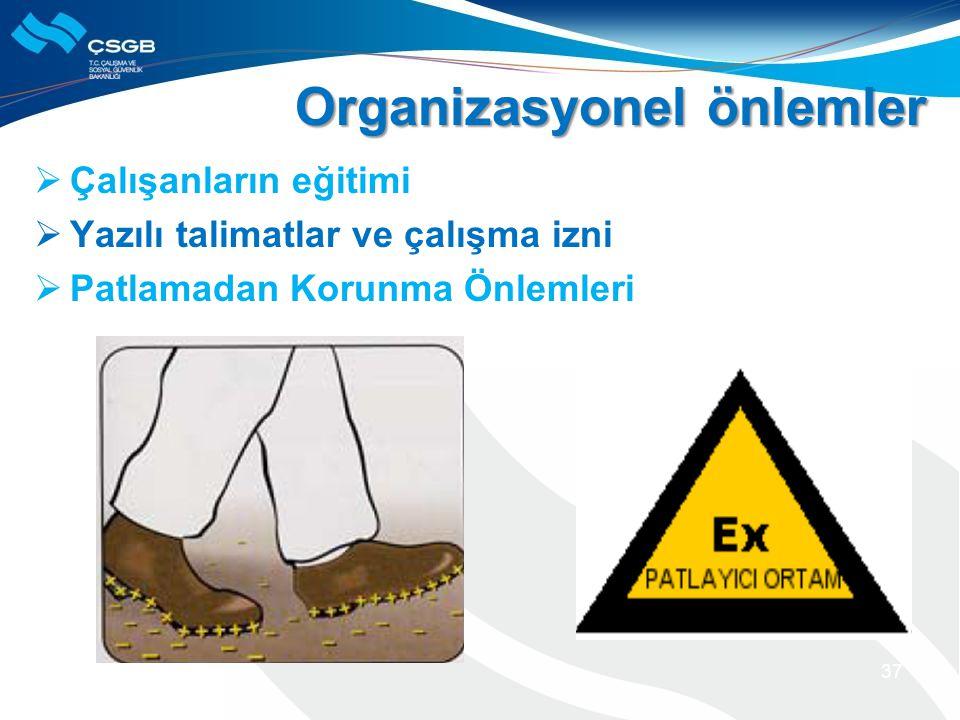  Çalışanların eğitimi  Yazılı talimatlar ve çalışma izni  Patlamadan Korunma Önlemleri 37 Organizasyonel önlemler