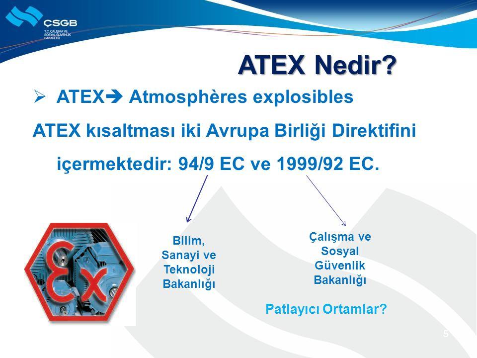  ATEX  Atmosphères explosibles ATEX kısaltması iki Avrupa Birliği Direktifini içermektedir: 94/9 EC ve 1999/92 EC. 5 ATEX Nedir? Patlayıcı Ortamlar?