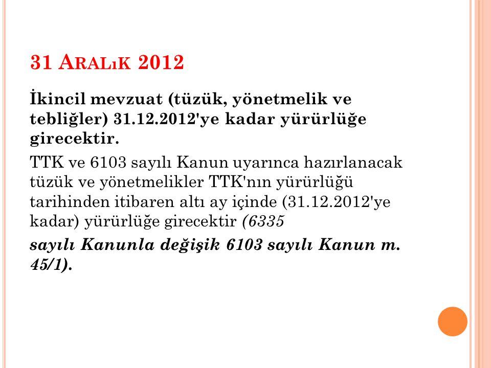 31 A RALıK 2012 İkincil mevzuat (tüzük, yönetmelik ve tebliğler) 31.12.2012 ye kadar yürürlüğe girecektir.