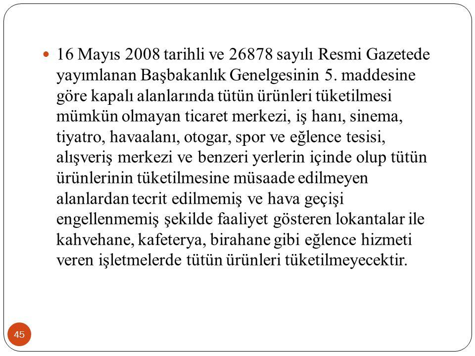  16 Mayıs 2008 tarihli ve 26878 sayılı Resmi Gazetede yayımlanan Başbakanlık Genelgesinin 5. maddesine göre kapalı alanlarında tütün ürünleri tüketil