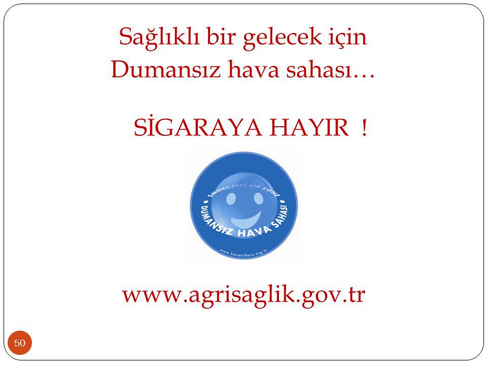 50 Sağlıklı bir gelecek için Dumansız hava sahası… SİGARAYA HAYIR ! www.agrisaglik.gov.tr