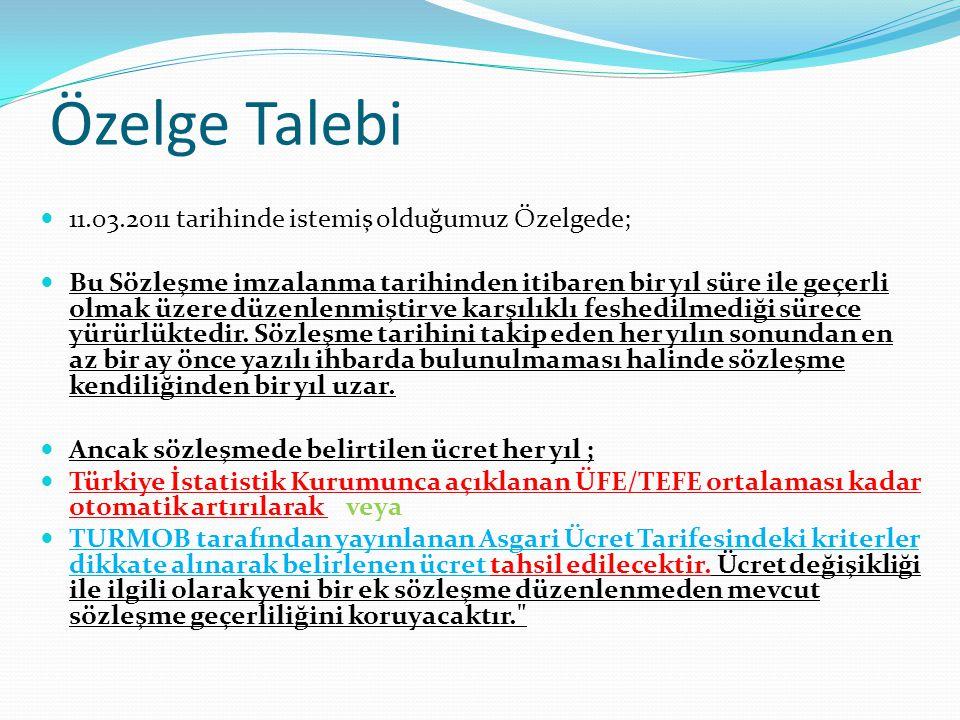 Özelge Talebi  11.03.2011 tarihinde istemiş olduğumuz Özelgede;  Bu Sözleşme imzalanma tarihinden itibaren bir yıl süre ile geçerli olmak üzere düze