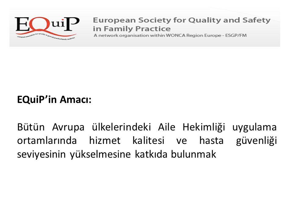 EQuiP'in Amacı: Bütün Avrupa ülkelerindeki Aile Hekimliği uygulama ortamlarında hizmet kalitesi ve hasta güvenliği seviyesinin yükselmesine katkıda bu