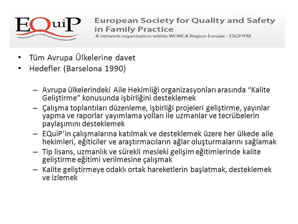 """• Tüm Avrupa Ülkelerine davet • Hedefler (Barselona 1990) – Avrupa ülkelerindeki Aile Hekimliği organizasyonları arasında """"Kalite Geliştirme"""" konusund"""