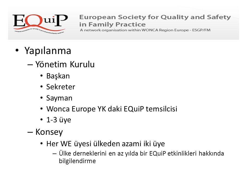 • Yapılanma – Yönetim Kurulu • Başkan • Sekreter • Sayman • Wonca Europe YK daki EQuiP temsilcisi • 1-3 üye – Konsey • Her WE üyesi ülkeden azami iki