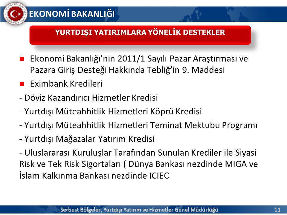 11 EKONOMİ BAKANLIĞI  Ekonomi Bakanlığı'nın 2011/1 Sayılı Pazar Araştırması ve Pazara Giriş Desteği Hakkında Tebliğ'in 9. Maddesi  Eximbank Krediler