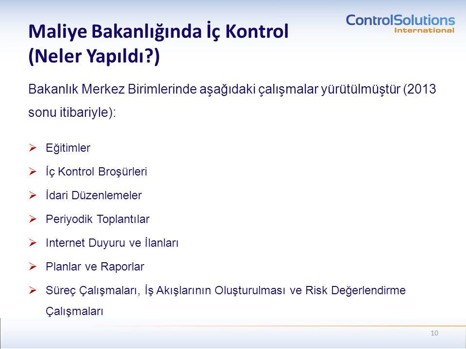 Maliye Bakanlığında İç Kontrol (Neler Yapıldı?) Bakanlık Merkez Birimlerinde aşağıdaki çalışmalar yürütülmüştür (2013 sonu itibariyle):  Eğitimler 