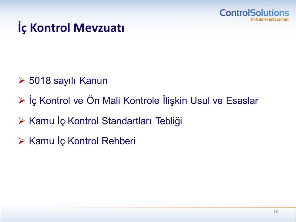 İç Kontrol Mevzuatı  5018 sayılı Kanun  İç Kontrol ve Ön Mali Kontrole İlişkin Usul ve Esaslar  Kamu İç Kontrol Standartları Tebliği  Kamu İç Kont
