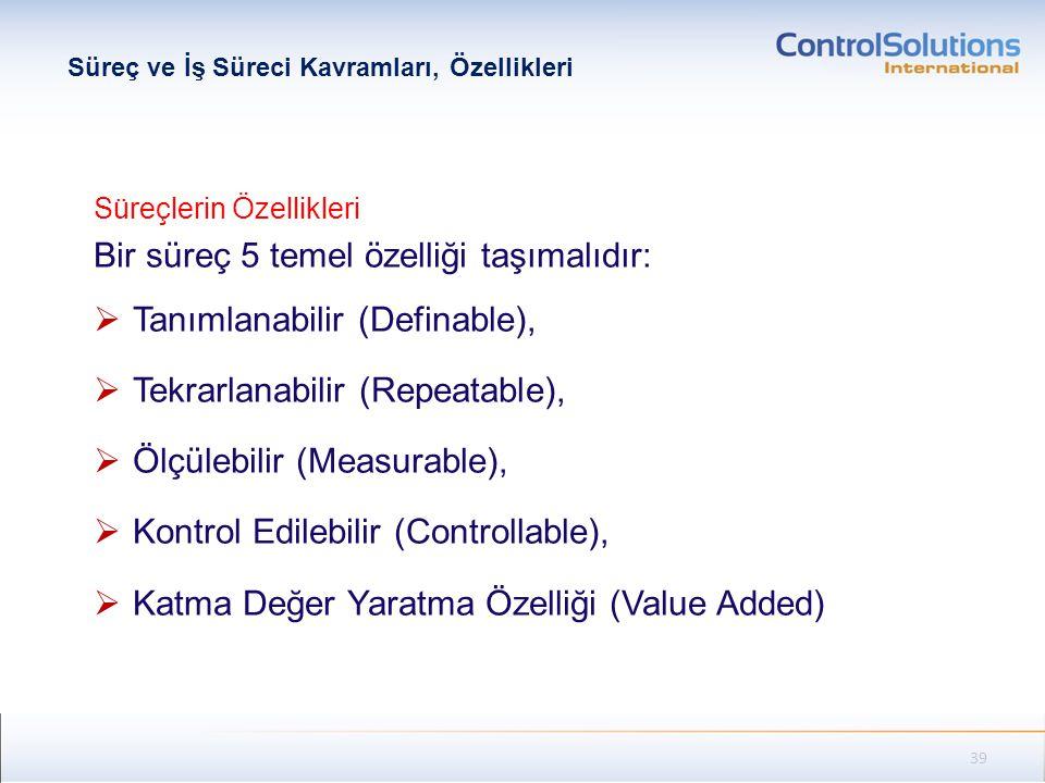 Süreçlerin Özellikleri Bir süreç 5 temel özelliği taşımalıdır:  Tanımlanabilir (Definable),  Tekrarlanabilir (Repeatable),  Ölçülebilir (Measurable