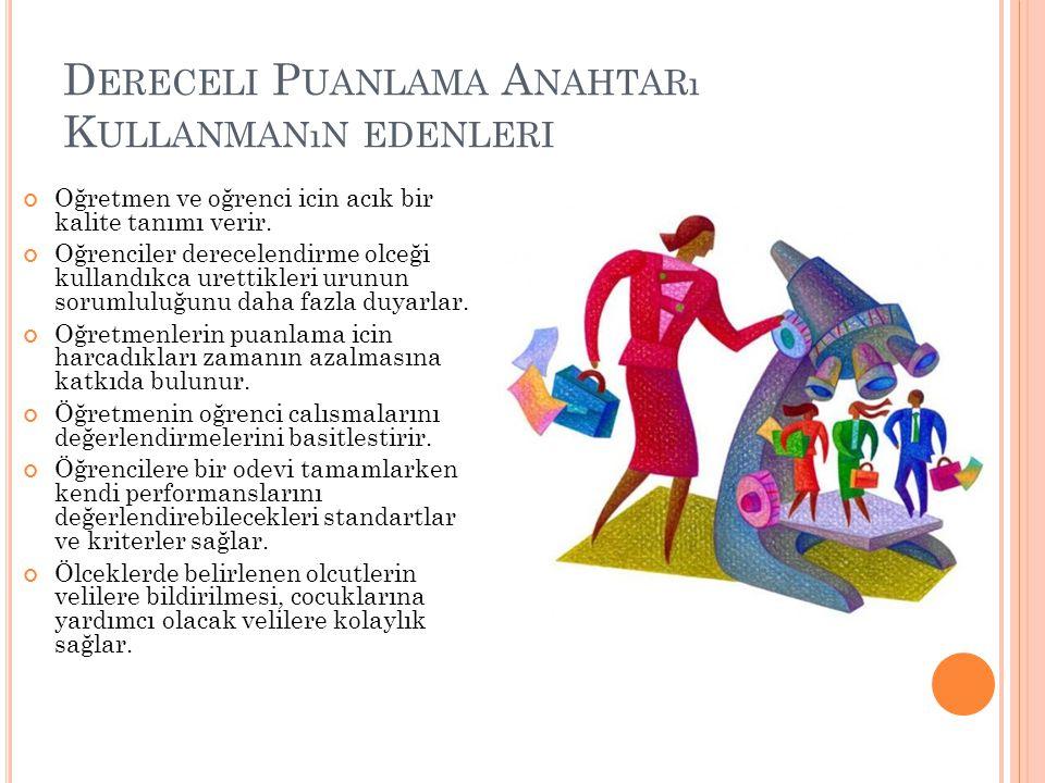 D ERECELI P UANLAMA A NAHTARı K ULLANMANıN EDENLERI Oğretmen ve oğrenci icin acık bir kalite tanımı verir.