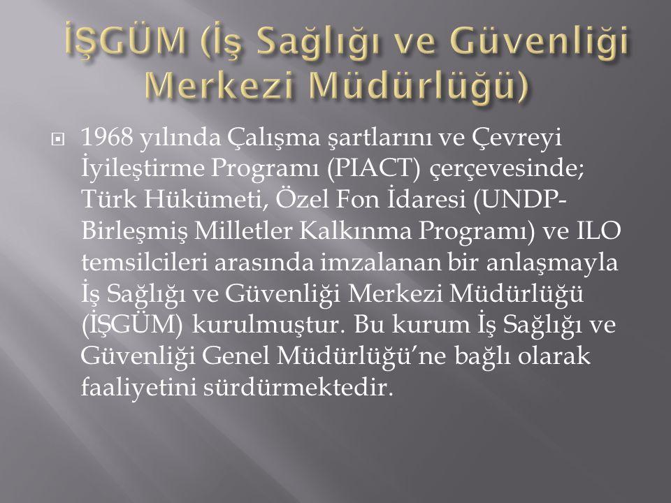  1968 yılında Çalışma şartlarını ve Çevreyi İyileştirme Programı (PIACT) çerçevesinde; Türk Hükümeti, Özel Fon İdaresi (UNDP- Birleşmiş Milletler Kal
