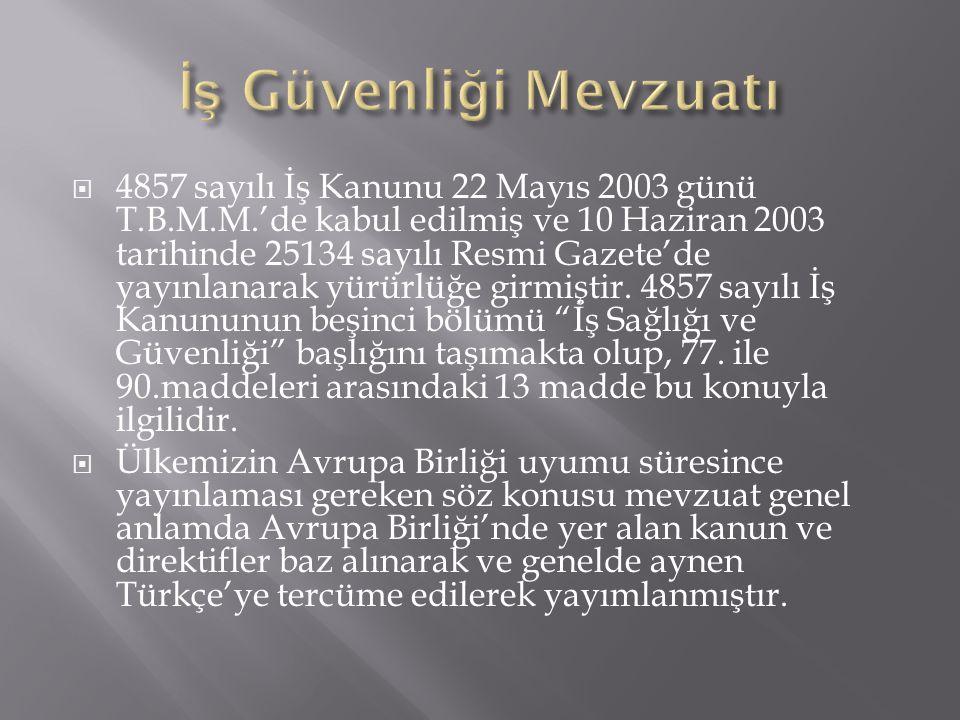  4857 sayılı İş Kanunu 22 Mayıs 2003 günü T.B.M.M.'de kabul edilmiş ve 10 Haziran 2003 tarihinde 25134 sayılı Resmi Gazete'de yayınlanarak yürürlüğe