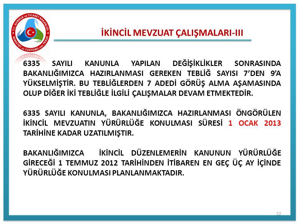 İKİNCİL MEVZUAT ÇALIŞMALARI-III 6335 SAYILI KANUNLA YAPILAN DEĞİŞİKLİKLER SONRASINDA BAKANLIĞIMIZCA HAZIRLANMASI GEREKEN TEBLİĞ SAYISI 7'DEN 9'A YÜKSE