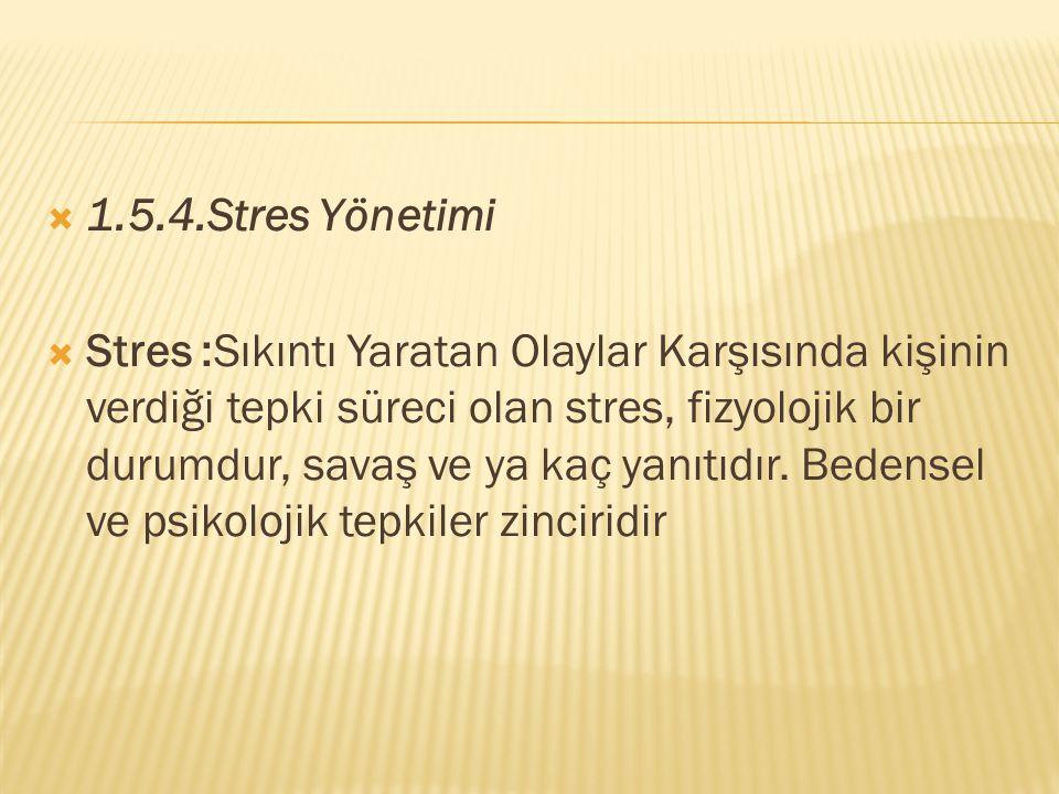 1.5.4.Stres Yönetimi  Stres :Sıkıntı Yaratan Olaylar Karşısında kişinin verdiği tepki süreci olan stres, fizyolojik bir durumdur, savaş ve ya kaç y