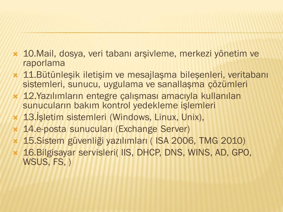  10.Mail, dosya, veri tabanı arşivleme, merkezi yönetim ve raporlama  11.Bütünleşik iletişim ve mesajlaşma bileşenleri, veritabanı sistemleri, sunuc