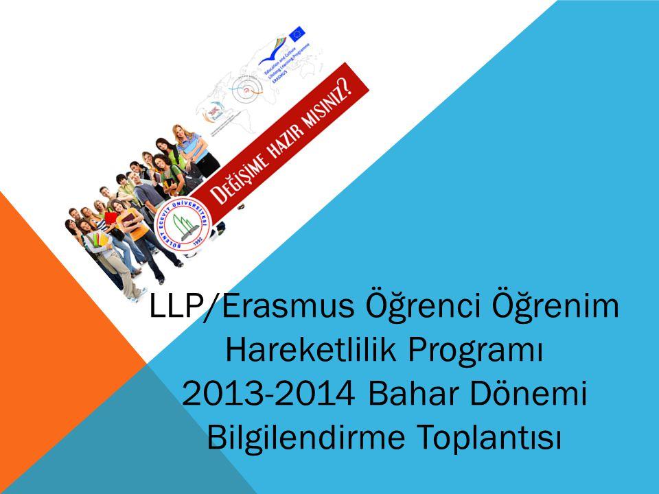 LLP/Erasmus Öğrenci Öğrenim Hareketlilik Programı 2013-2014 Bahar Dönemi Bilgilendirme Toplantısı