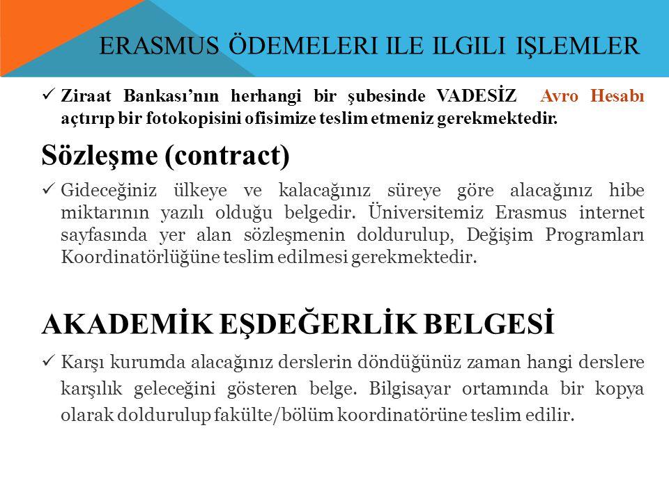ERASMUS ÖDEMELERI ILE ILGILI IŞLEMLER  Ziraat Bankası'nın herhangi bir şubesinde VADESİZ Avro Hesabı açtırıp bir fotokopisini ofisimize teslim etmeni