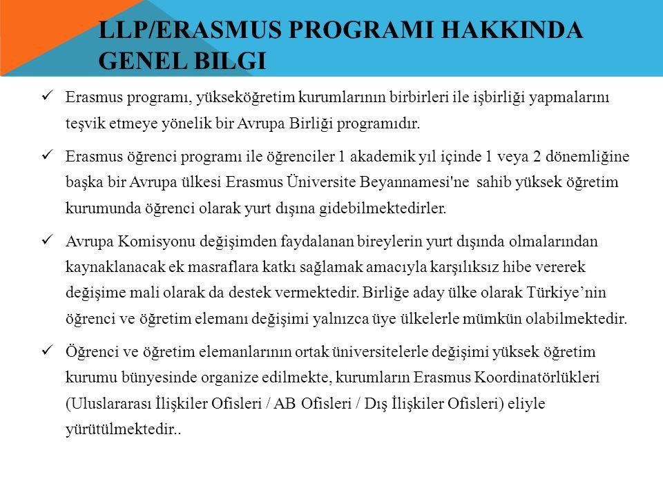 LLP/ERASMUS PROGRAMI HAKKINDA GENEL BILGI  Erasmus programı, yükseköğretim kurumlarının birbirleri ile işbirliği yapmalarını teşvik etmeye yönelik bi